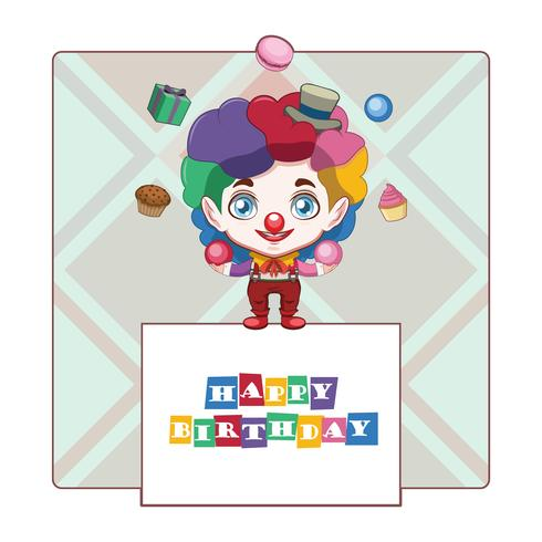 Birthday greeting with happy clown vector