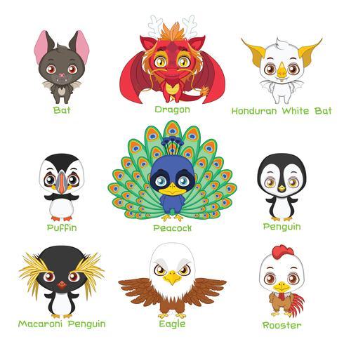 Ensemble de divers animaux aviaires vecteur