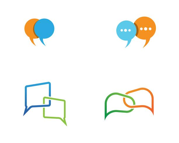 Speech bubble chat icon Vetor de modelo de logotipo