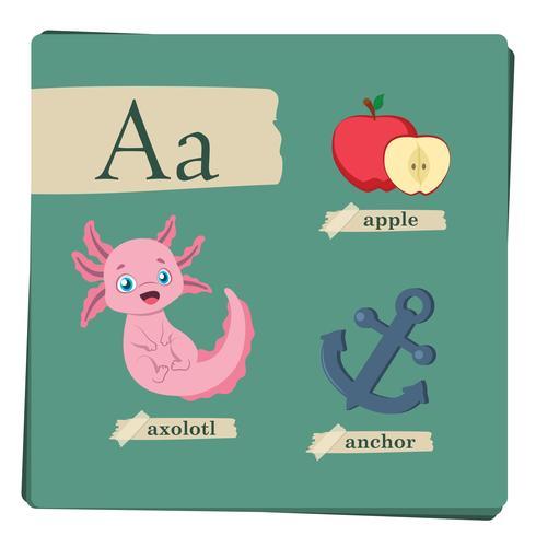 Färgrikt alfabet för barn - Brev A vektor