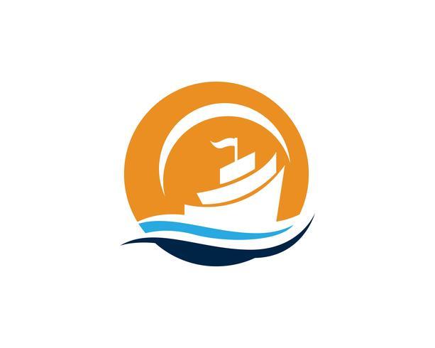 Oceaan cruise schip voering schip silhouet eenvoudig lineaire logo vector