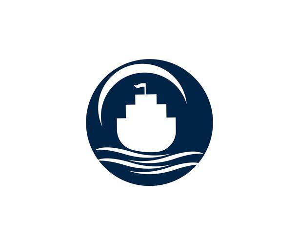 Océano crucero liner nave silueta simple lineal logo vector