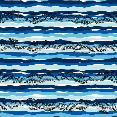 Vector sea seamless pattern with hand drawn textures. Modern abstract design
