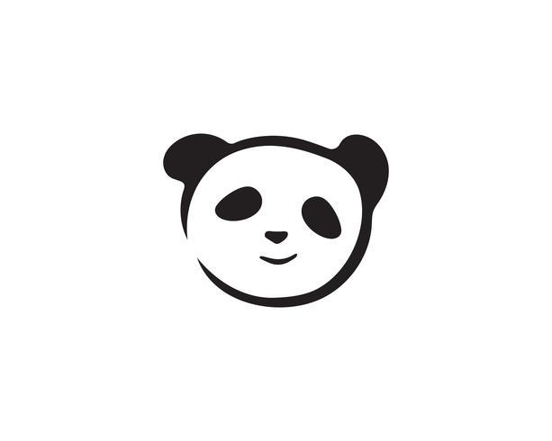 panda logo testa in bianco e nero
