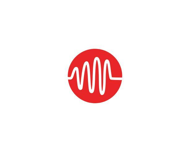 Heart beat wave logo line vector