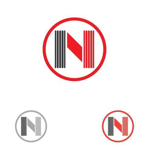 N carta modelo de logotipo vetor