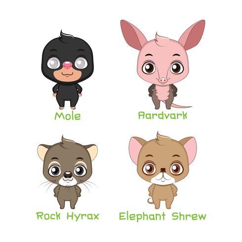 Conjunto de várias espécies de animais mistos