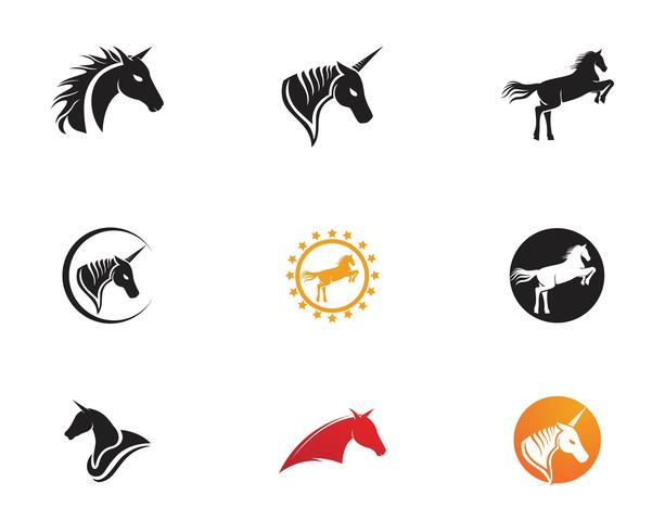Icono de Vector de plantilla de logotipo de caballo