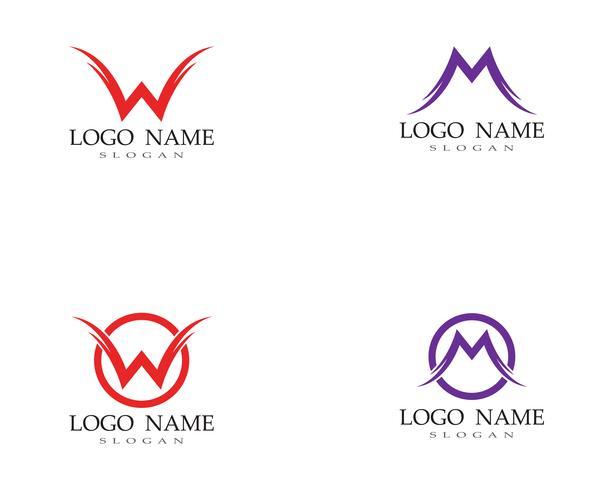 Lettera WM Logo Business Template vettoriale
