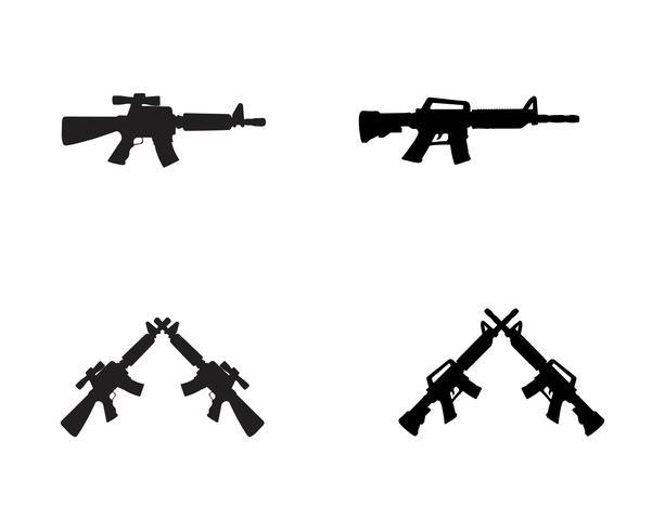 Couleur de pistolet silhouette vecteur noir