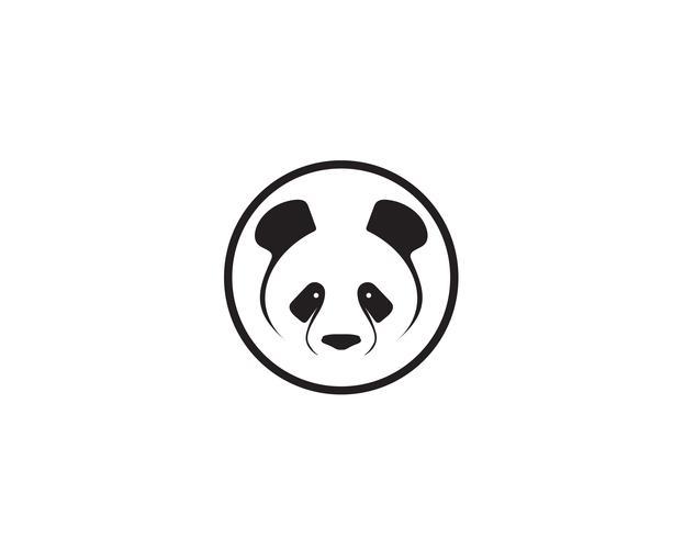panda-logo zwart en wit hoofd