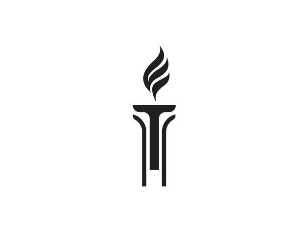Logo inicial de T para logo y símbolo inspirado en la antorcha. vector