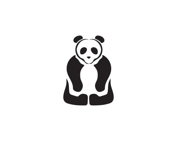 logotipo de panda en blanco y negro vector