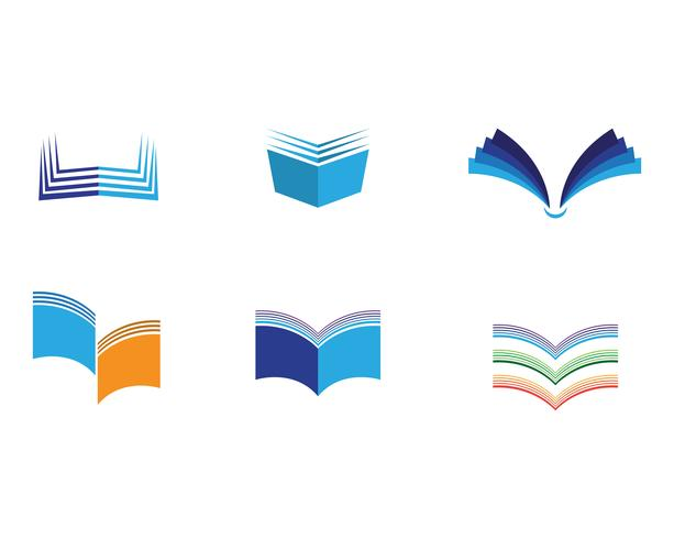 Livre de lecture logo et symboles icônes de modèle