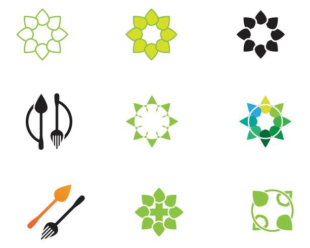 green leaf logo ecology natureza elemento vetor