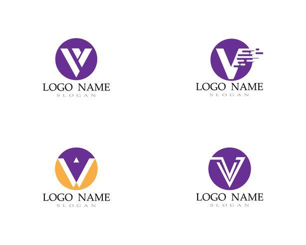 V logotyp och symboler symbol ikoner vektorer