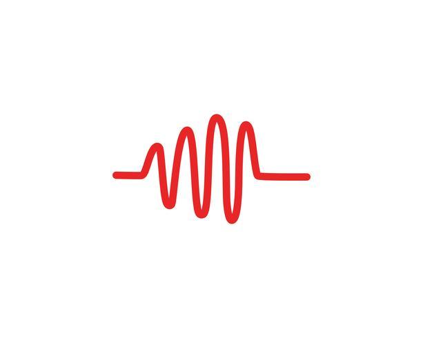 Hjärtslag våg logotyp linje vektor