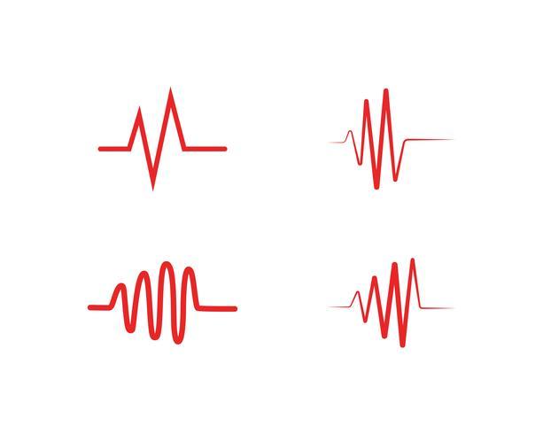 Heart beat ola logo línea vector