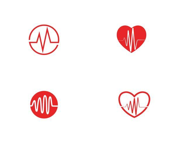 Vetor de linha de logotipo de onda de batida de coração