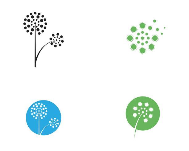 Vector de plantilla de vector de logotipo flor de diente de león