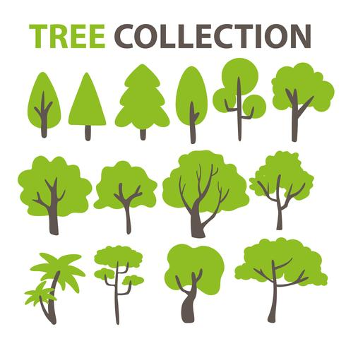 Colección de árboles planos para decorar el fondo de un árbol de dibujos animados. vector