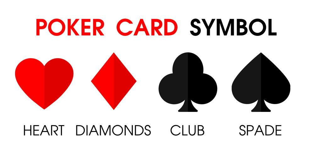 Juegos de azar y símbolos en varias cartas, club de diamantes de corazón y pala. vector