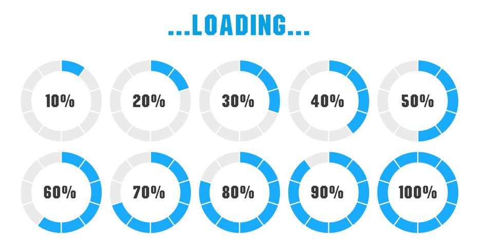 El icono de estado de carga está esperando para procesar los datos en varias formas vector
