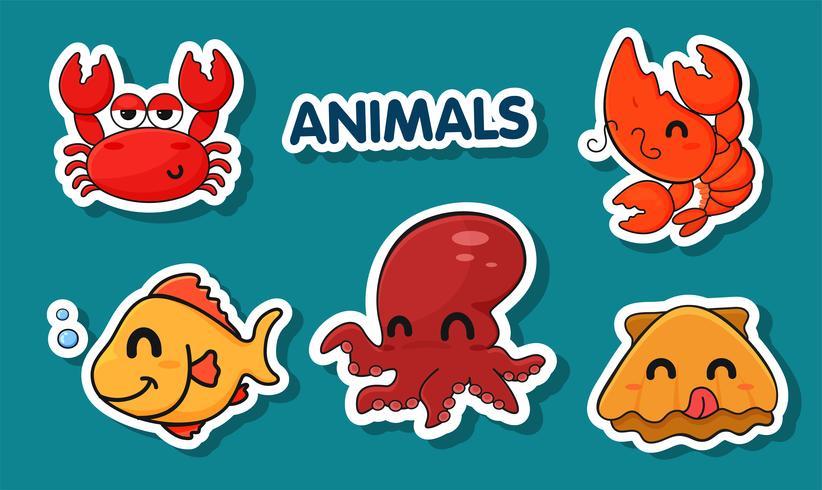 Desenhos animados dos animais de mar capturados cozinhando.