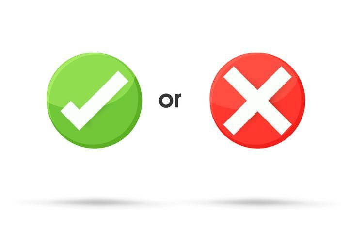 Los símbolos verdaderos y falsos aceptan rechazados para la evaluación. Vector de estilo simple y moderno.