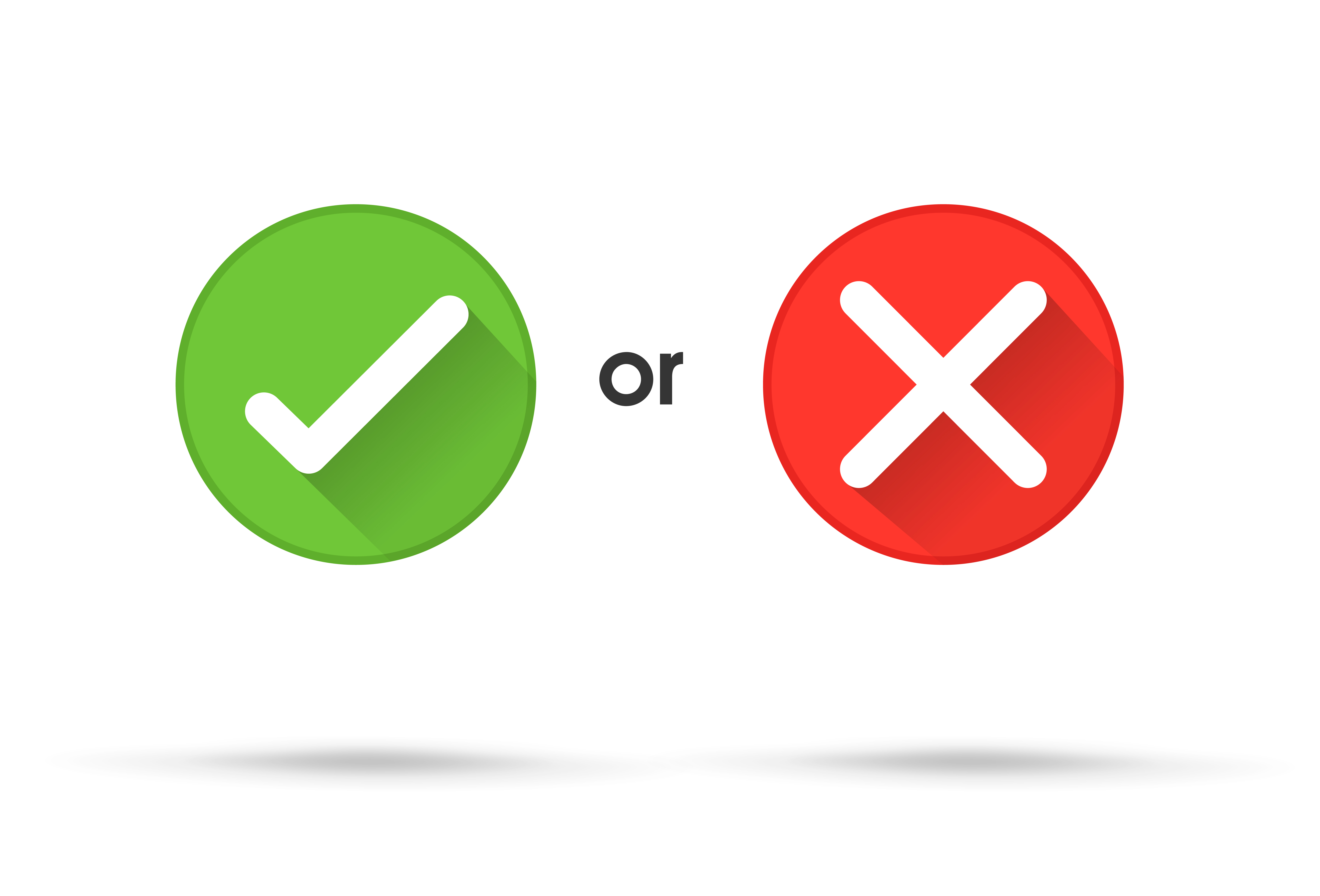 True and false symbols accept rejected for evaluation ...