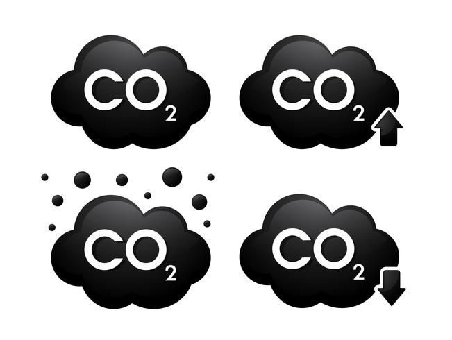 Gas cabondioxide 3D icons. Vector Illustration.