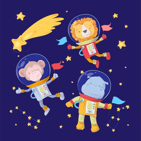 Set of cartoon cute animals monkey lion and hippo astronauts in space with stars and a comet for childrens illustration. Vector