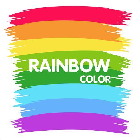 Målarborste på väggen är en färgstark regnbåge. vektor