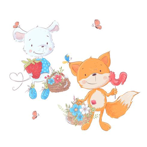Set cartoons cute animals mouse and fox with baskets of flowers for children illustration. Vector