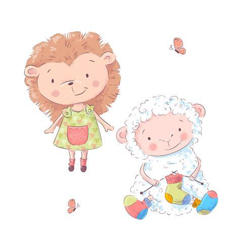 Insieme dell'istrice e delle pecore svegli del fumetto per l'illustrazione dei bambini. Vettore