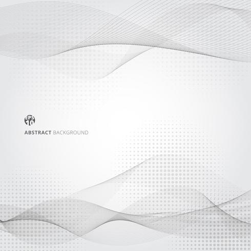 Abstract smooth gray color wave lines motion pattern. vector