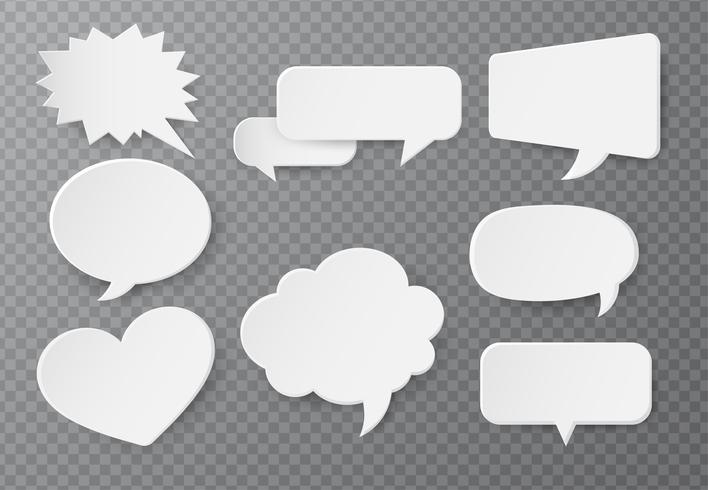 Tekstballon van papier Voor tekstinvoer Op een transparante achtergrond