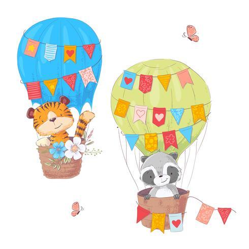 Grupo de leão bonito e de guaxinim dos animais dos desenhos animados em um balão com flores e bandeiras para a ilustração das crianças. Vetor