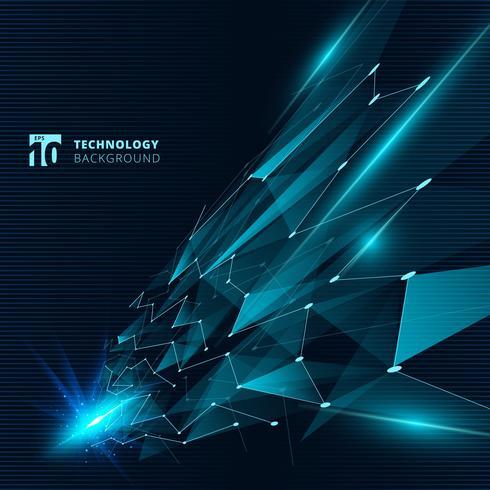 I triangoli di colore blu di tecnologia astratta con le linee di effetto della luce che collegano i punti struttura la prospettiva su fondo scuro.