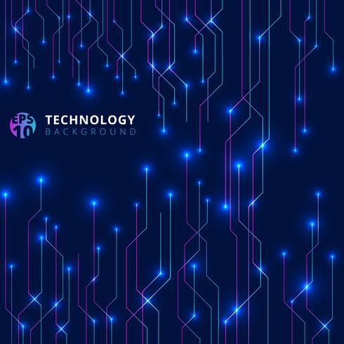 Linhas abstratas da tecnologia com o brilho da iluminação futurista na obscuridade - fundo azul. vetor