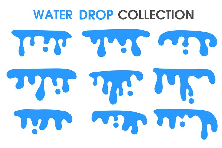 Water drops and water curtains in a simple flat cartoon style. vector