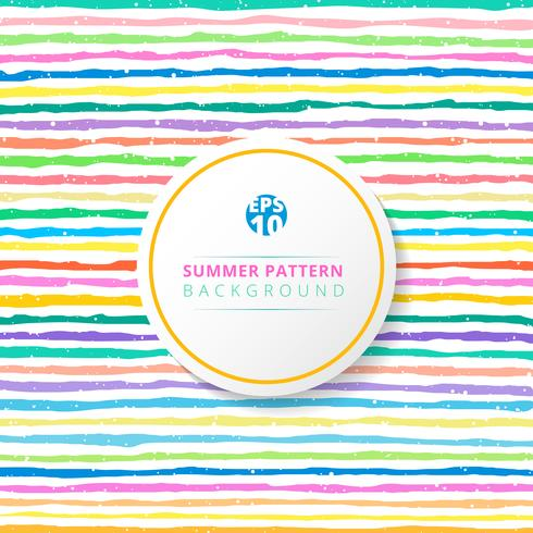 Sommar randigt mönster färgstarkt på vit bakgrund. vektor