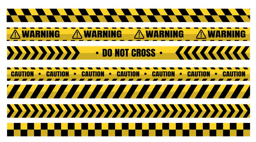 Hazardous warning tape sets must be careful for construction and crime. vector