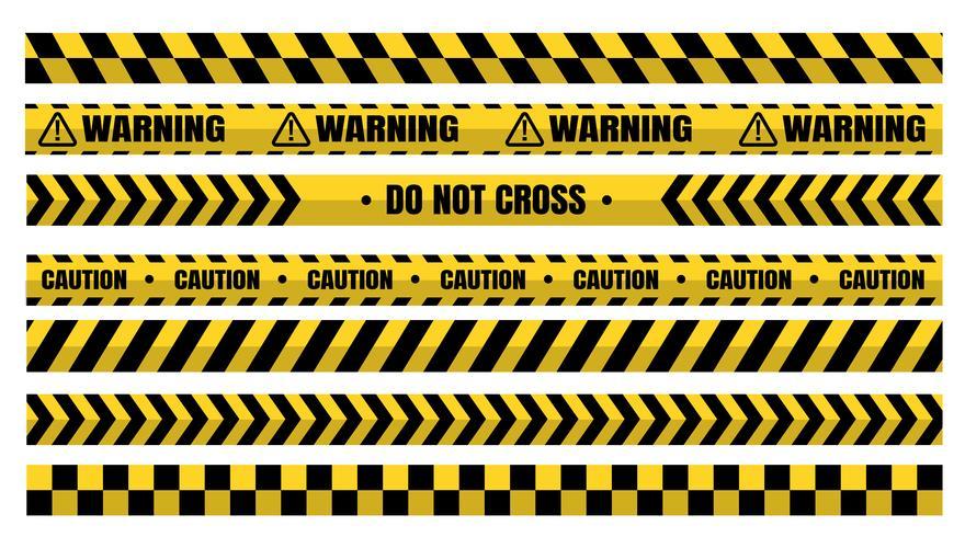 Farliga varningsbandssatser måste vara försiktiga för konstruktion och brottslighet. vektor