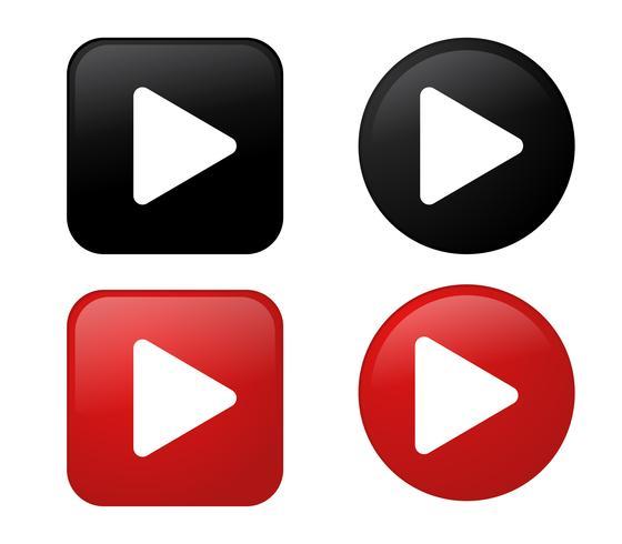 Jogue o ícone Coleção de botão preto e vermelho 3D. vetor