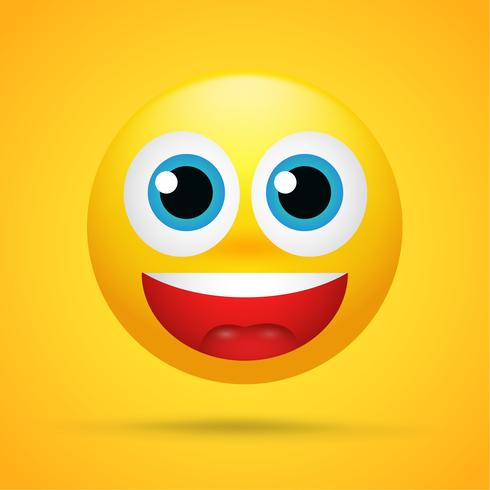 Happy cartoon emoticons Was excited, surprised on a bright yellow background vector