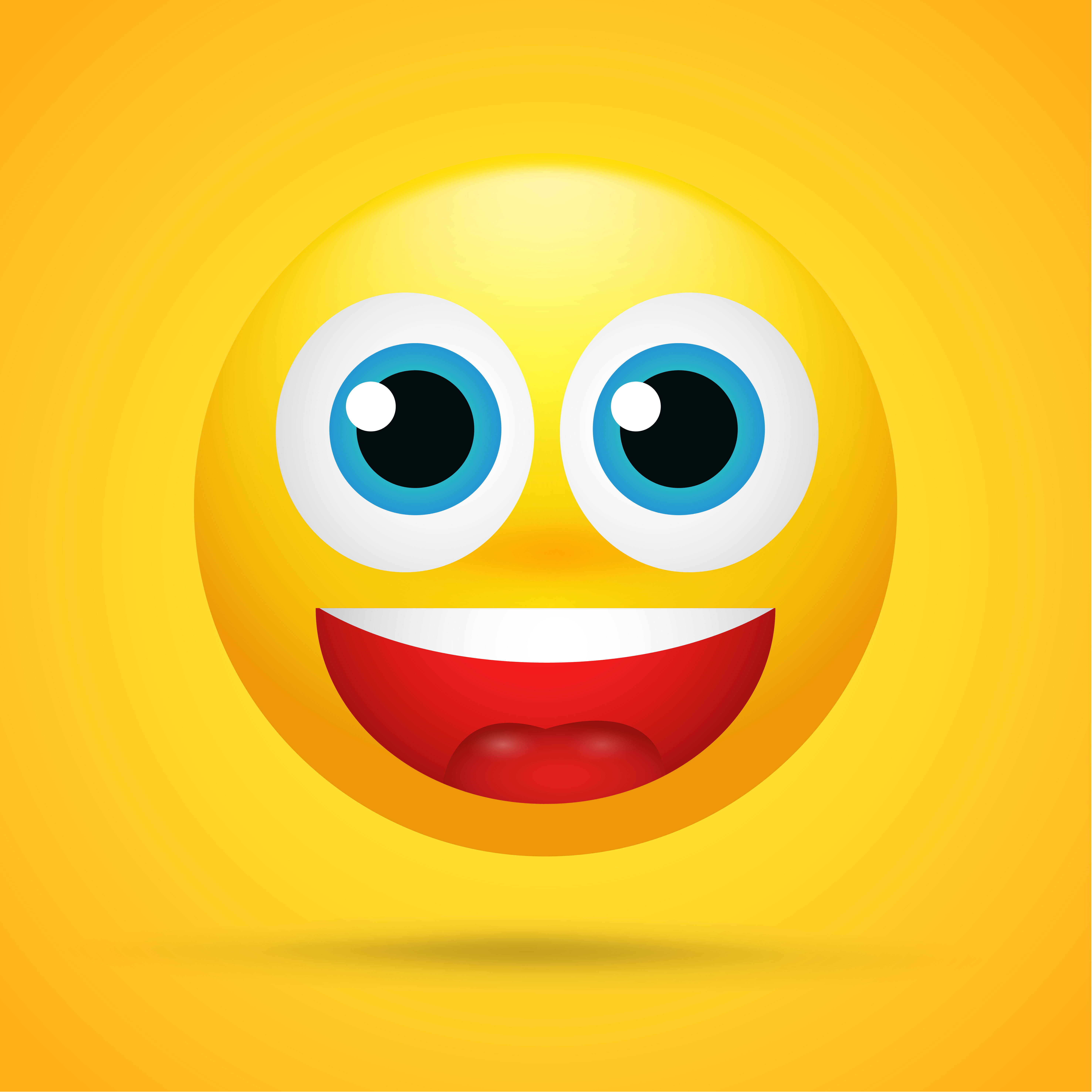 Happy cartoon emoticons Was excited, surprised on a bright ...