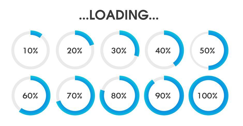 El icono de estado de carga está esperando para procesar los datos en varias formas