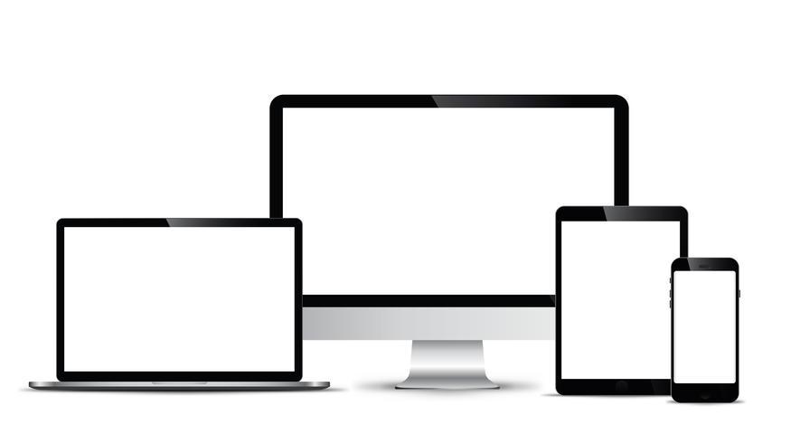 Elektronisch vectormodel Moderne technologie, smartphones, tablets, computers en notebooks