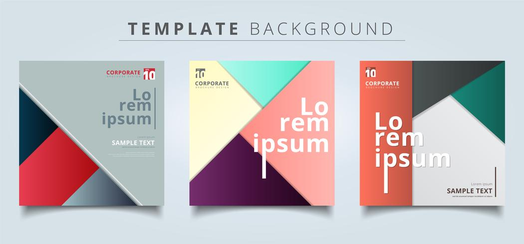Set of abstract geometric layout minimal style background. vector